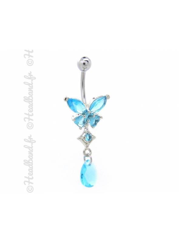 Piercing nombril butterfly strass bleu