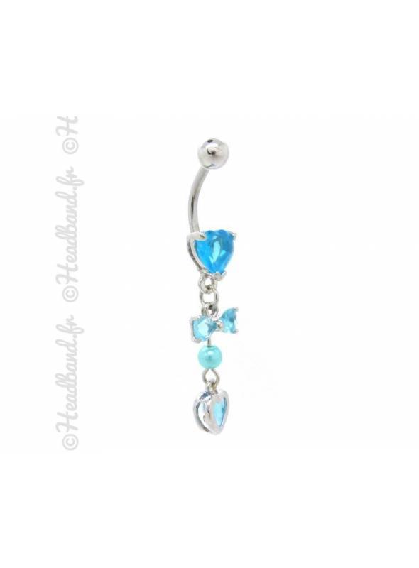 Piercing nombril breloque noeud bleu