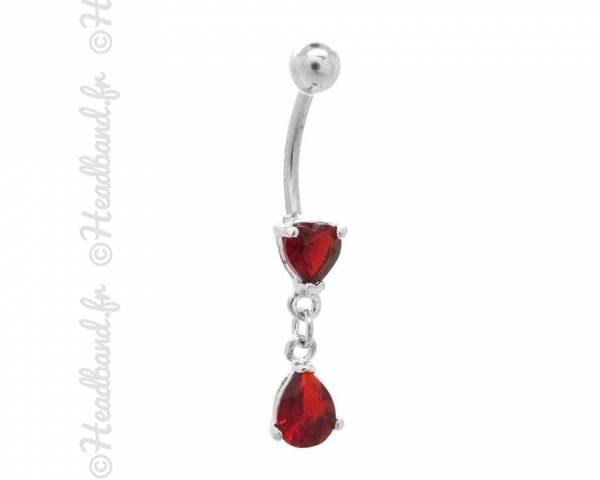 Piercing nombril bijou pendentif rouge