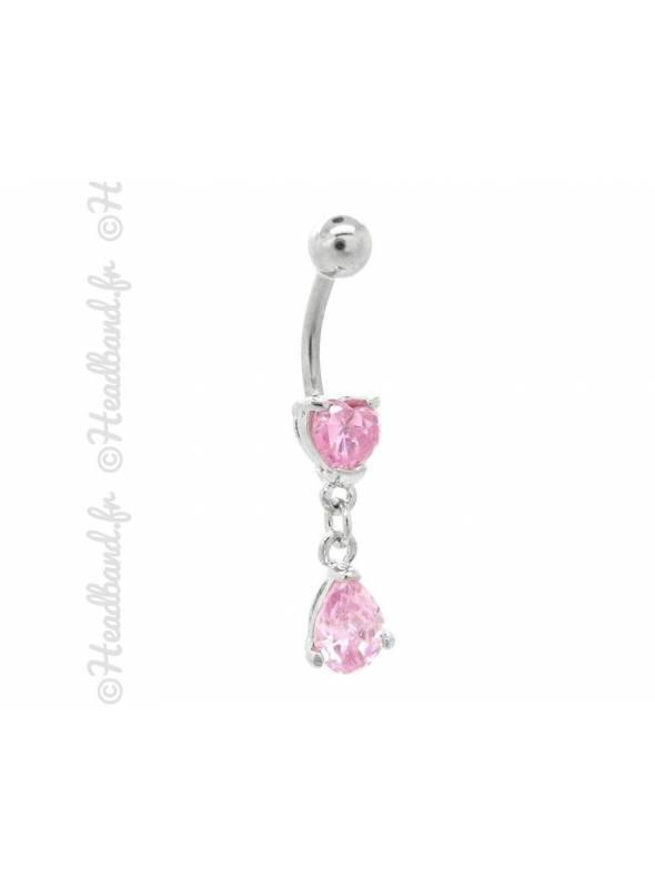 Piercing nombril bijou pendentif rose