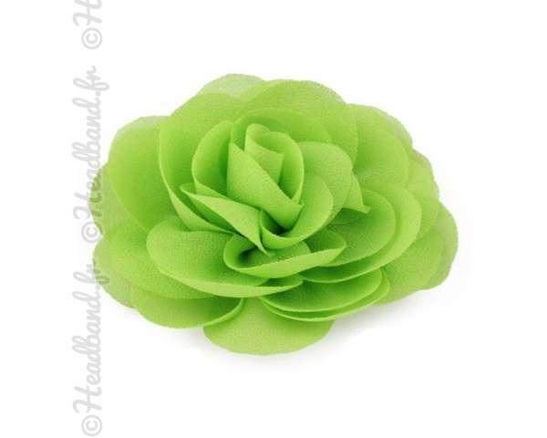 Pince fleur mousseline vert pomme