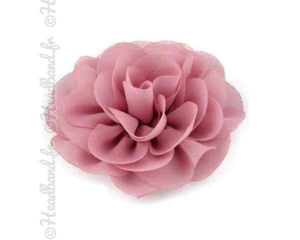 Pince fleur mousseline rose poudré