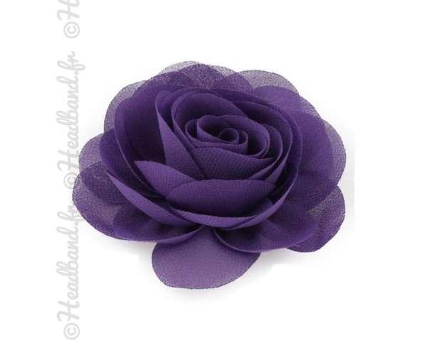 Pince fleur mousseline violet foncé