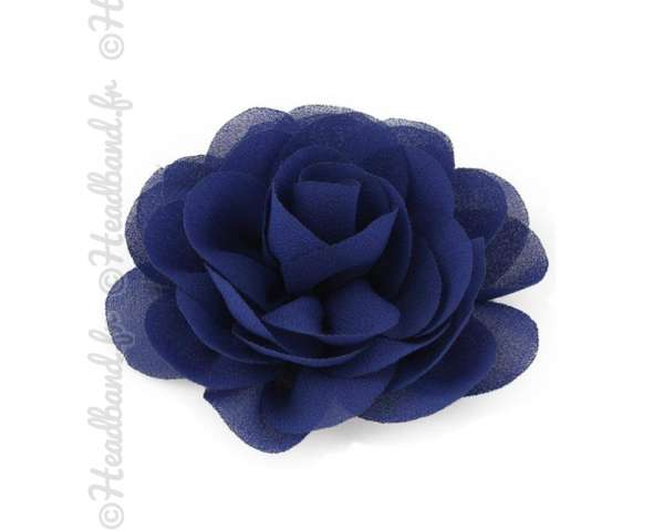 Pince fleur mousseline bleu océan