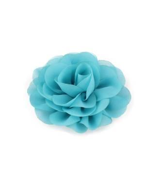 Pince fleur mousseline turquoise