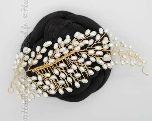 Tiare en perles doré sur câble Cécilia