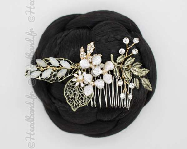 Peigne bronze fleurs et cristaux Emeline