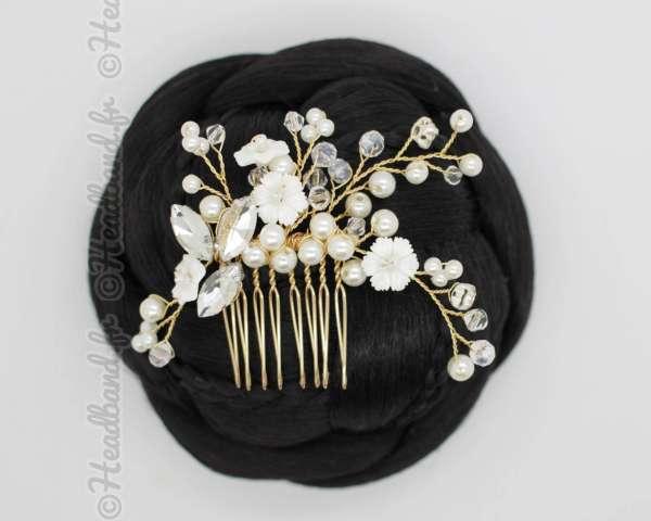 Coiffe doré fleurs et perles  Tissia