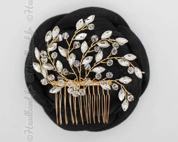 Peigne fait-main doré cristaux Eléonore