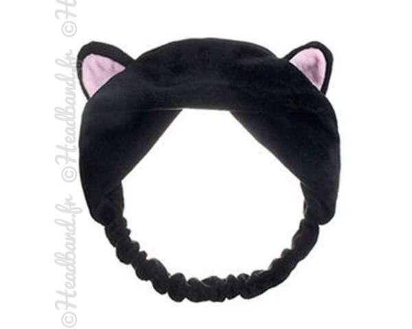Bandeau démaquillage oreilles chat noir