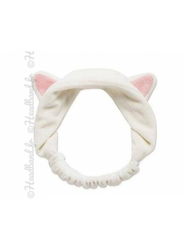 Bandeau démaquillage oreilles chat blanc