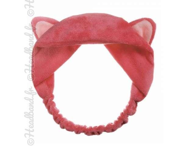 Bandeau démaquillage oreilles chat rose