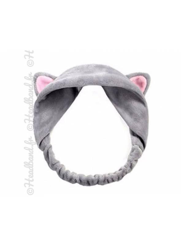 Bandeau démaquillage oreilles chat gris