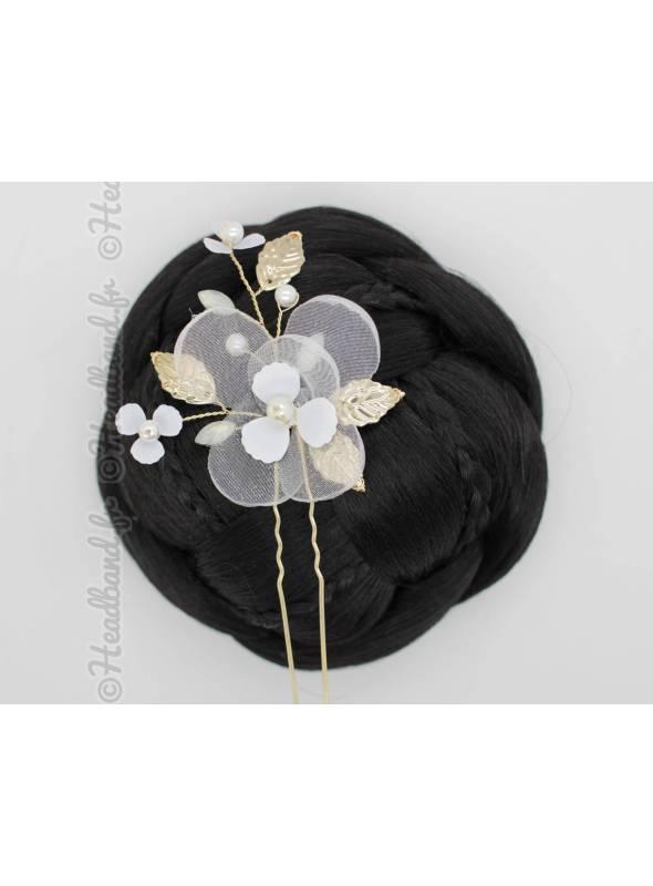 Pique attache fleur tulle blanche Ilona