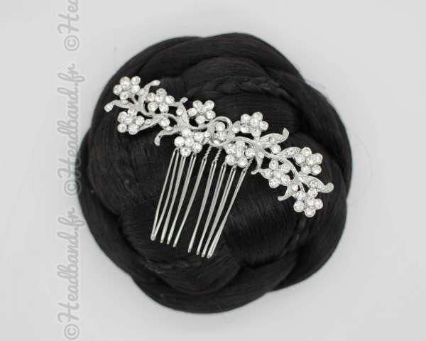 Peigne chignon fleurs à cristaux Jelena