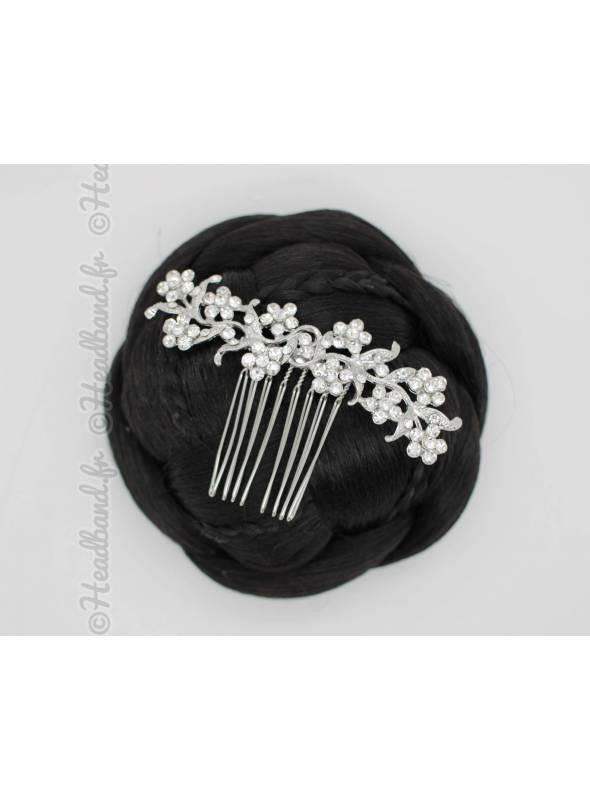 Peigne chignon fleurs à cristaux