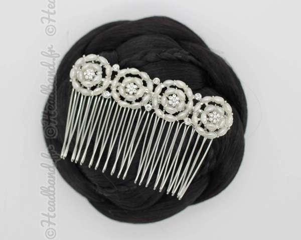 Peigne argenté perles blanches Carla