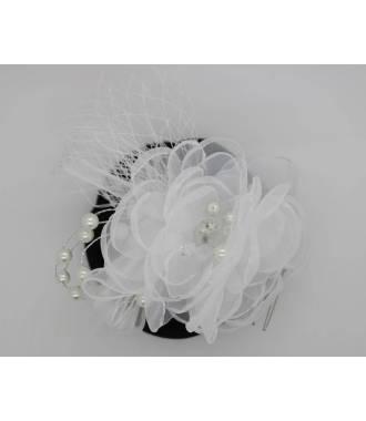 Coiffe mariée voilette rétro fleur blanche