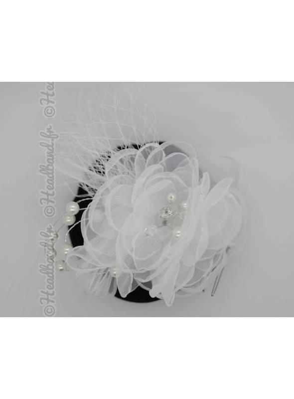 Coiffe mariée voilette rétro fleur blance