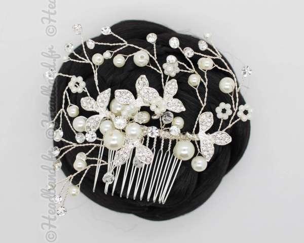 Coiffe mariée perles fleurs strass Mélanie