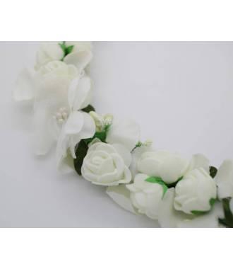 Couronne fleur lien organza blanche