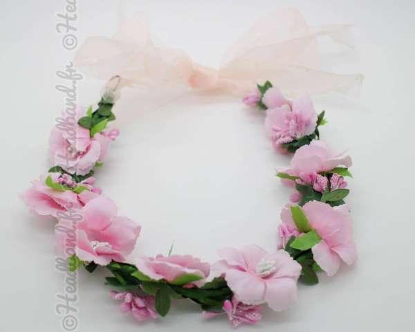 Couronne de fleurs végétale rose