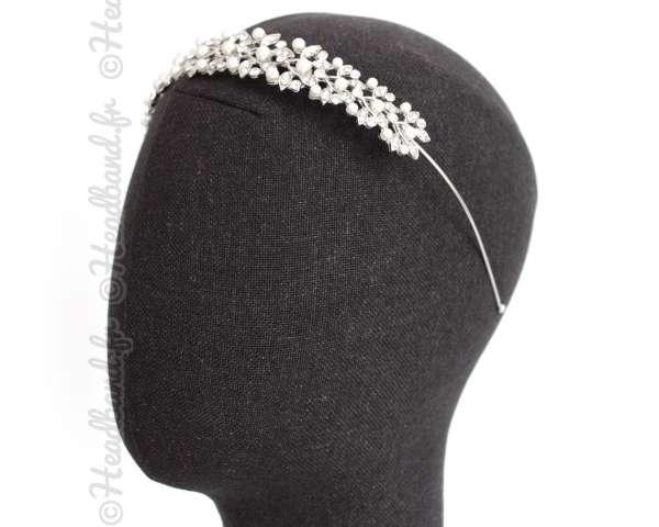 Serre-tête diadème large perles brillant