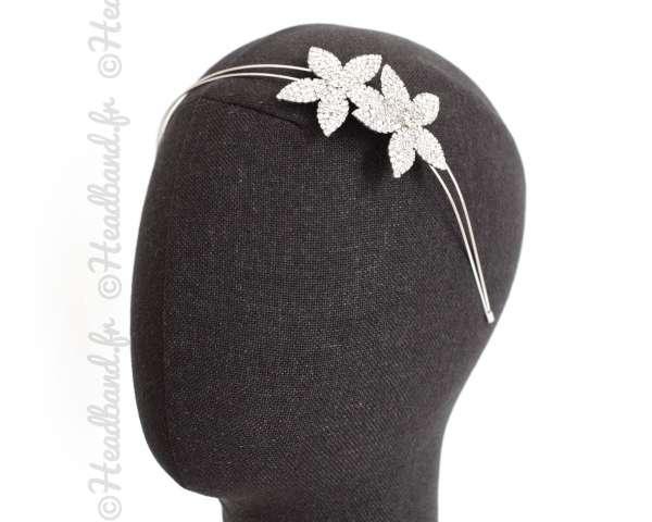 Serre-tête double fleur mariée