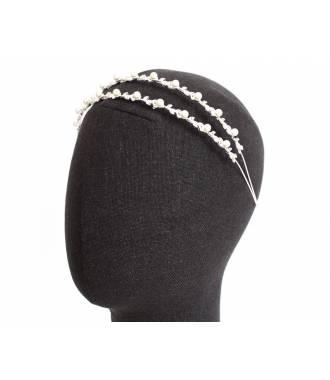 Serre-tête double rangée mariée en perles