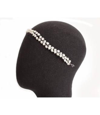 Tiare en perles de rocaille blanche Irina