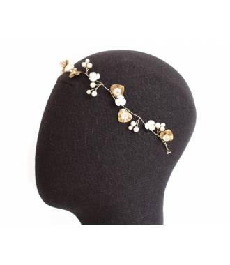 Bijou de tête perles et fleurs Juliette