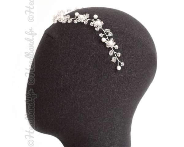 Tiare sophistiquée fleur et perles
