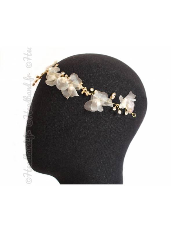 Headband mariée blanc végétal Hindira