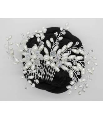 Peigne mariée perles blanches Opaline