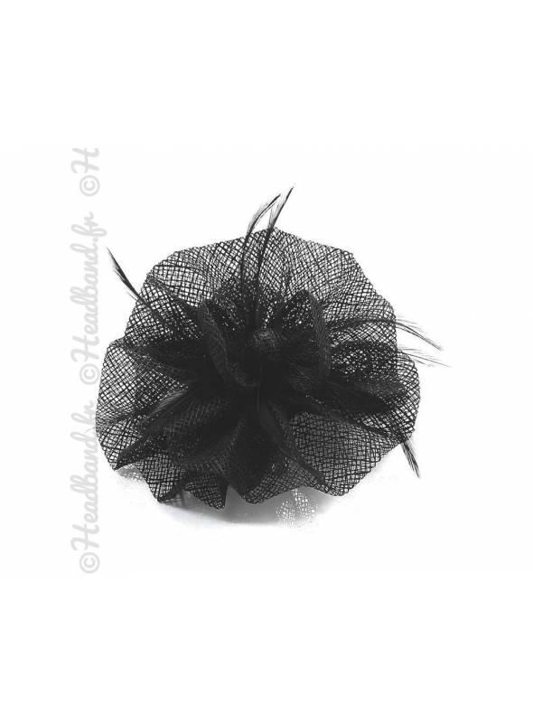 Barrette bouton de fleur tulle noir