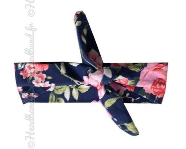 Bandeau fillette à nouer imprimé floral
