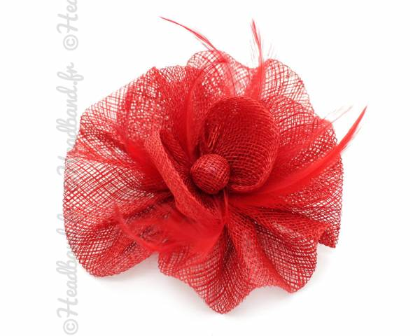Barrette bouton de fleur sisal rouge