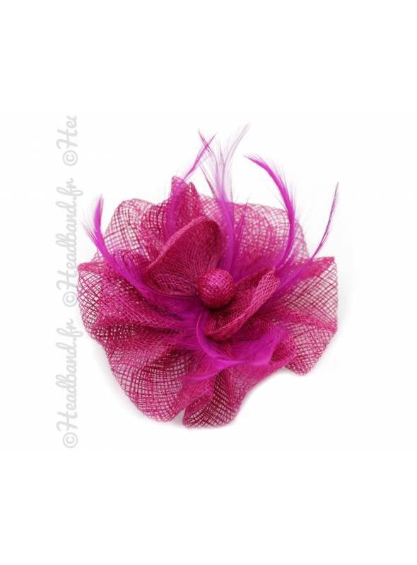 Barrette bouton de fleur tulle fushia