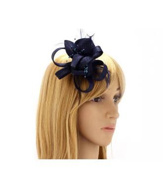 Bibi fleur clip bleu en perles