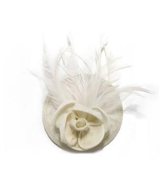 Mini chapeau fleur ivoire à clip