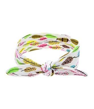 Bandeau motifs plumes colorées