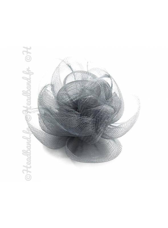 Bibi sur pince tulle bouton fleur gris