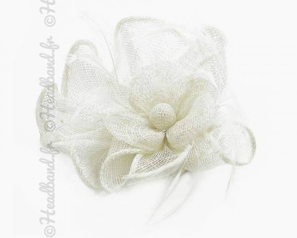 Barrette sisal fleur crème