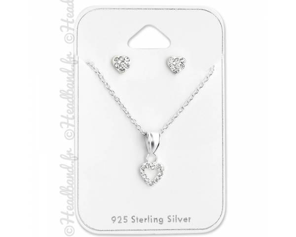 Parure femme bijoux coeur cristal blanc en argent