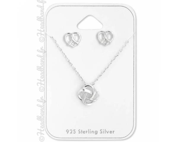 Parure bijoux coeur et noeud argent 925
