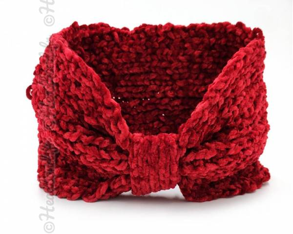 Headband noeud maille chenille rouge