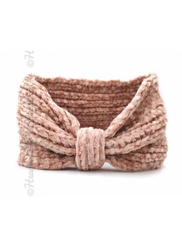 Headband noeud maille chenille rose