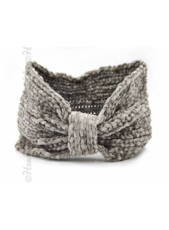 Headband noeud maille chenille gris