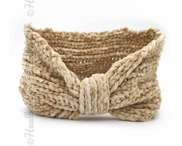 Headband noeud maille chenille beige