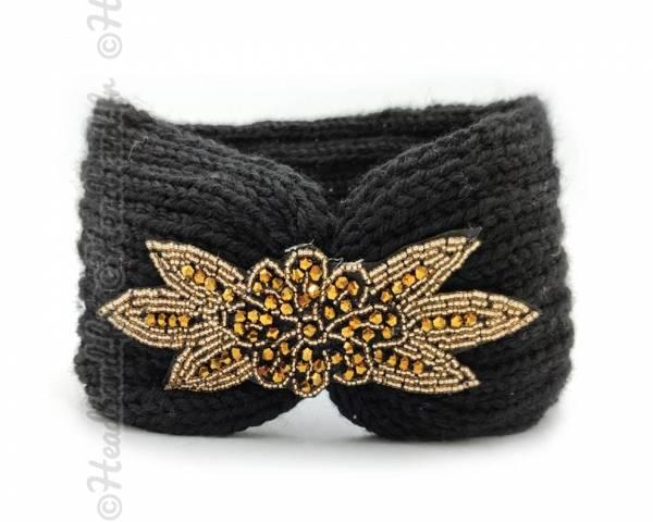 Headband tricot applique perlée noir